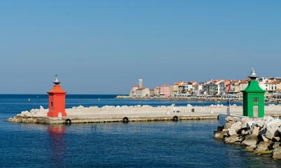 Colorful architecture details at Piran harbor, Istria, Slovenia