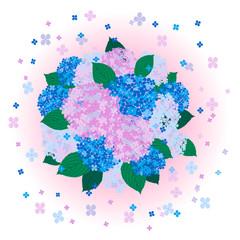 紫陽花-桃色+背景(拡散)+球形