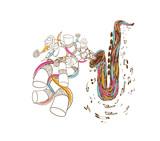 Jazz Saxophone doodle art poster