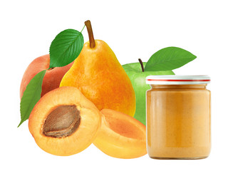 jar of baby puree and fresh apricot, peach, apple and pear isola