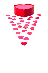 Open gift box with heart-shaped and scattered hearts