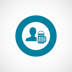man with beer glass icon bold blue circle border