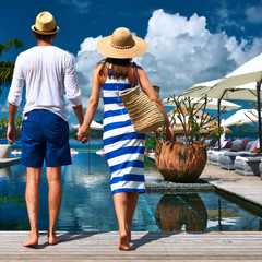 Couple near poolside