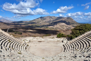 Panoramic view of ancient greek theathre of Segesta, Sicily