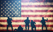Soldiers in assault on USA flag. American army, military - 80192782