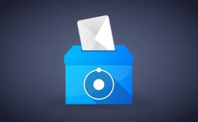 Blue ballot box with an atom