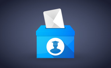 Blue ballot box with a student