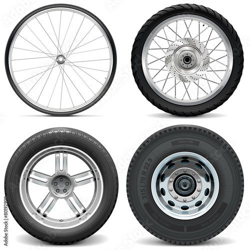 Vector Tires for Bicycle Motorcycle Car and Truck - 80192900