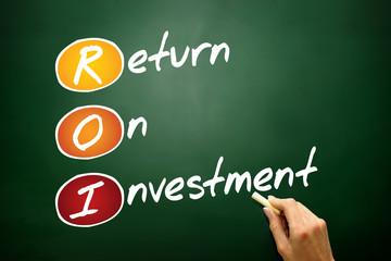 Return On Investment (ROI) acronym, concept on blackboard