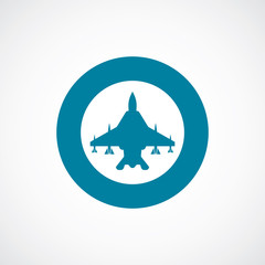 fighter airplane icon bold blue circle border