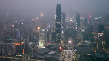 Skyscraper and city panoramic in China aerial night view
