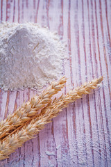 ears of wheat flour on vintage wooden board food and drink c