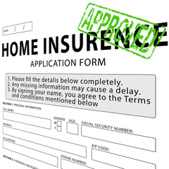 Home insurance application form with green approved rubber stamp