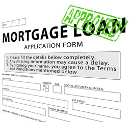 Mortgage loan application form with Approved rubber stamp