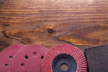 brazives set on vintage wooden board construction concept