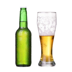 Isolated bottle and glass with light beer