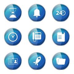 Time Duration Blue Vector Button Icon Design Set