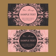 Floral vintage business cards, invitations or announcements