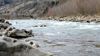 Cheremosh river in Verkhovyna, Ukraine. March 05, 2015