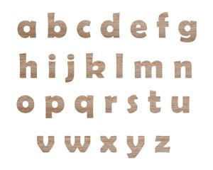 Wood alphabet isolated on white background