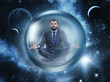 Businessman meditating in space
