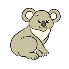 Illustration of cute cartoon koala bear.