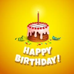 Happy birthday greeting card with cake. Vector illustration