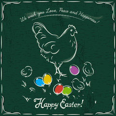 hen and easter colored eggs on grunge green background and insc