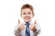 Smiling young businessman child boy gesturing thumb up success s