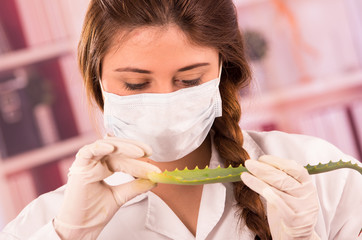 young female biologist experimenting with leaf