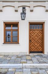 Old window, door and lantern