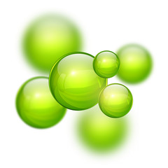 Abstract 3D background with green balls