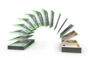Composition with flying banknotes of money