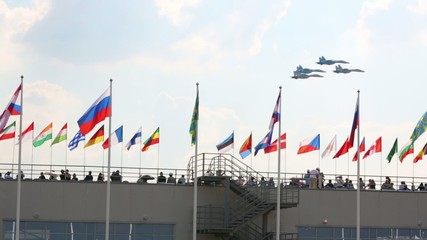 Four Russian SU-27 aircrafts at air show