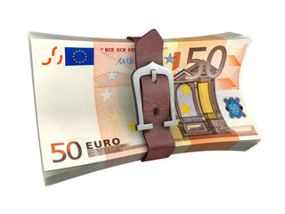 Stack of euro with leather belt. Crisis concept