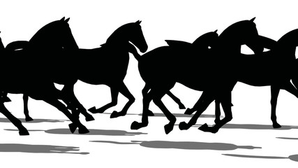 Silhouette of horses moving fast side view, loopable