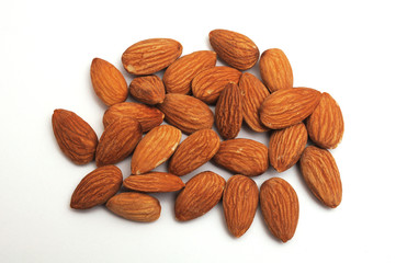 Isolated pile of almonds