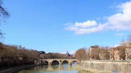 Bridge Sisto. Rome, Italy. Time Lapse. 4K
