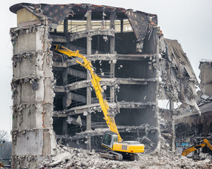 demolition of old industrial building