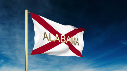 alabama flag slider style with title. Waving in the wind with