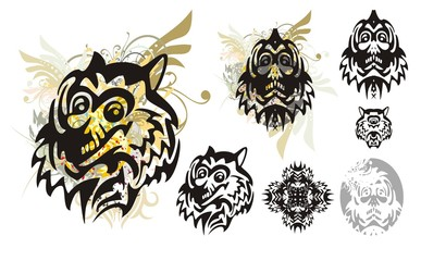 Tribal monster wolf head with splashes and the monster head