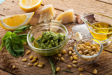 Basil pesto sauce and fresh ingredient