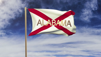 alabama flag with title waving in the wind. Looping sun rises