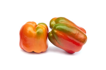 Two sweet pepper on white