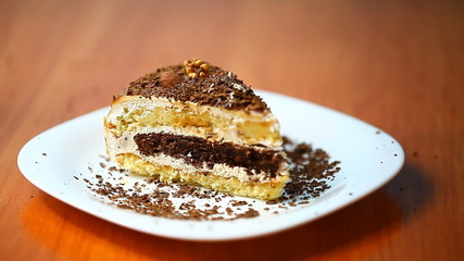 piece of cake sprinkled with chocolate chips