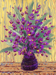 Still life oil. Charming  bouquet of purple flowers in vase