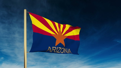 arizona flag slider style with title. Waving in the wind with