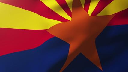 arizona flag waving in the wind. Looping sun rises style