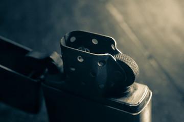 Closeup metal lighter,vintage filtered
