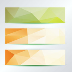 set of bright triangles pattern banners template, vector
